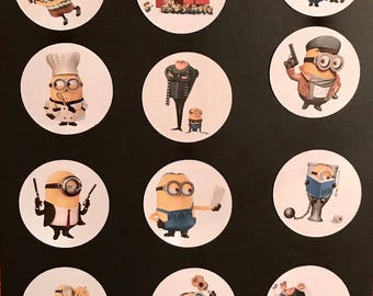 Precut Edible Despicable Me Characters to decorate your cupcakes, cookies or cake with.