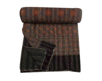 King Size Quilt,Hand block Handmade block print kantha quilt,Indigo kantha quilt,blanket,King size quilt,patchwork blanket quilt throw