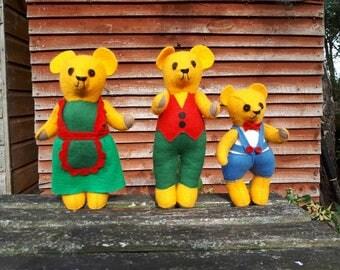 Vintage 3 Bears Felt Handmade