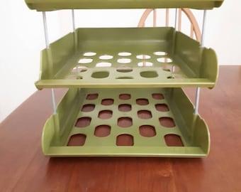 Vintage Olive Green Hago Office Desk Organiser Trays
