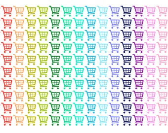 Rainbow Shopping Cart Planner Stickers
