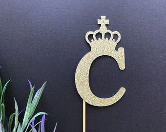 Personalised Crown Cake Topper or Cupcake Topper- Prince Crown Cake Topper/Crown Topper/Princess crown Cake Topper/Baptism Cake Topper/Crown