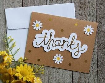 Handmade Daisy Thank You Card
