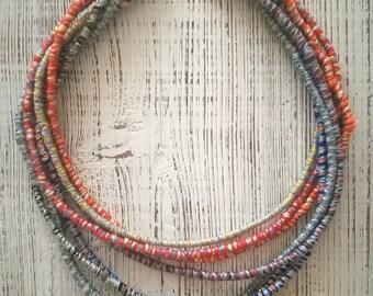 Etno boho multistranded felt necklace, handmade