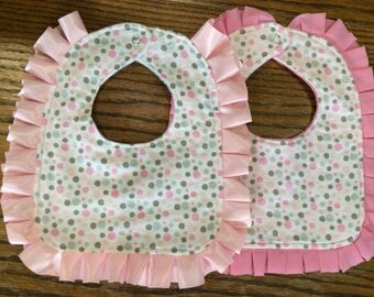 Baby girl ruffled bib