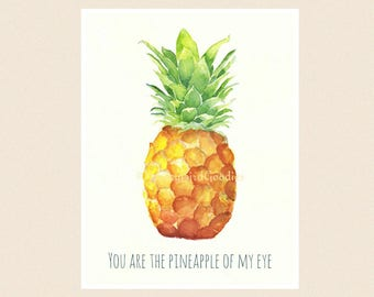 Pineapple Card, Watercolour Pineapple, You Are the Pineapple of My Eye, Love Card, Food Greeting Card, Handmade Fruit Card