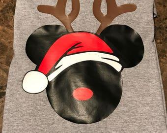 Disney Inspired Christmas Mickey Head Adult Shirt Design #1