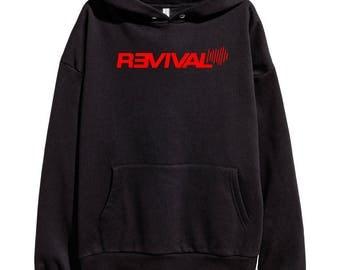 Eminem Revival Red Logo Hoodie Classic Hip Hop Rap Vintage Style Sweatshirt Revival Slim Shady Records Aftermath Entertainment Detroit
