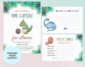 Dinosaur Time Capsule, Printable 1st birthday Time Capsule Sign, Boys Time capsule cards Boy First birthday time capsule Personalised custom