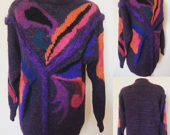 Vintage 90s Rainbow Jumper - UK Size 16 - 18/US Size 12 - 14
