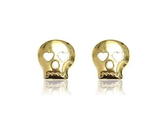 10K Solid Yellow Gold Skull Stud Earrings - Polished Head