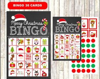 Printable 20 Christmas Bingo Cards; printable Christmas Bingo game, Christmas printable bingo cards instant download
