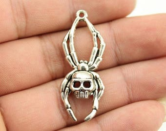 3 Spider Skull Charms
