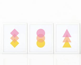 Set of 3 Prints, geometric Wall Art,Printable Art, colorful Print Set,Set of nursery Prints, Geometric Print, Abstract Art, minimalist decor
