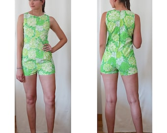 Vintage Lilly Pulitzer Romper/ 60s Lord and Taylor Onesie/ Bright Green Floral Print/ 60s mod romper