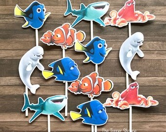 FINDING DORY Cupcake Toppers / Cake Toppers / Die Cuts / Birthday Party / Decorations / Cake Pops / Supplies / Decor / Fast Shipping!