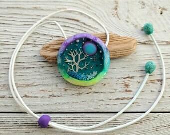 Moss Pendant, Blue Green Pendant, Bright Pendant, Round Pendant, Nature Pendant, Polymer Сlay Pendant, Resin Pendant, Festival Jewelry