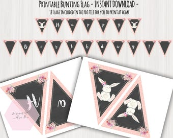 INSTAND DOWNLOAD Birthday Flag Bunting Banner - Some Bunny Is One Chalkboard Party Printable