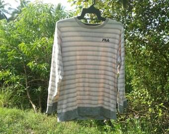 Vintage fila sport sweatshirt cross stripe medium size