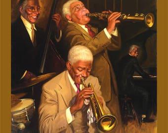 Jammin by Overon,Canvas Art,Jazz ,Music,Prints (20x20)