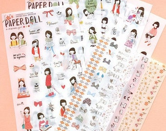"""Stickers 6 sheets set """"Paper Doll"""""""