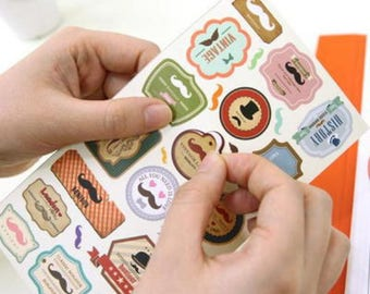 4 sheets stickers funny mustache sticker set