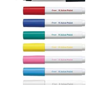 8 Assorted Colors Full Set - Pilot Juice Paint SJP-160F-8C Fine Bullet Tip 8-Color Paint Markers