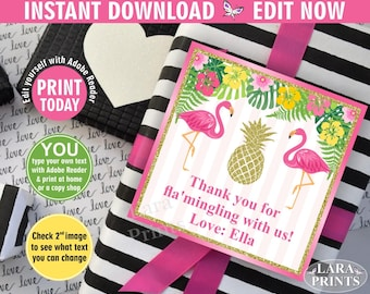 INSTANT DOWNLOAD / edit yourself now / Flamingo Favor Tag Gift Hang Tags, Thank You Tags, Pink Flamingo, Pool Party Gold luau Hawaiian FTFL1