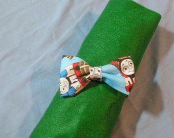 "Thomas the Train toddler pre tied bow tie, 3"" bow with snap closure on band, blue toddler bowtie, baby first bow tie, percy bow tie"