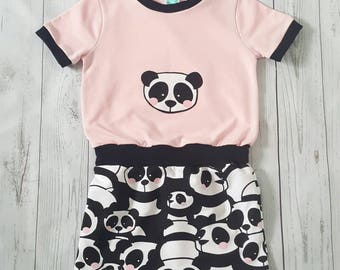 Girl short sleeved dress, panda dress, party dress, girl tunic, toddler dress, pink dress, applique dress, girls panda dress, cotton dress