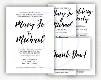 Printable, Customized Simple Wedding Invitation, Program, Ceremony Card, Thank You Card, Black and White