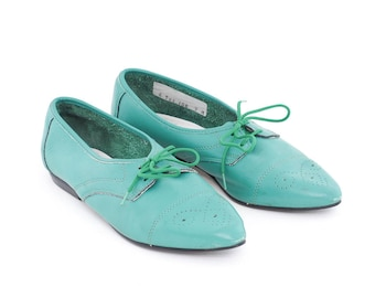 teal leather pointed oxfords | lace up shoes | valenti turquoise flats | slip ons | casual everyday flats | size 7
