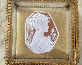 Large Sardonyx Shell Cameo loose hand curved and signed by an artist 50 x 40 mm