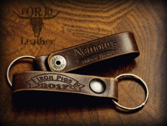 Engraved leather keychain, Leather keychain