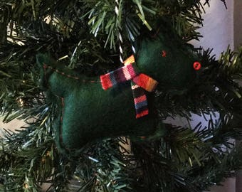 Green Scotty Dog Christmas Decoration