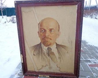 Lenin big canvas picture, Vladimir Illich wall decor USSR, Soviet Communist propaganda, 1917 russian socialist revolution leader image