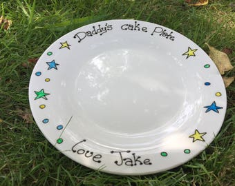 Hand painted personalised cake plate