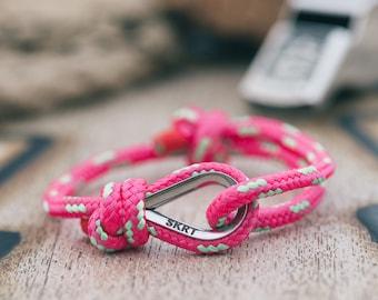 Handmade Customized Nautical Sailing Bracelet Black bright pink green color | Personalized Men present | Adjustable size, Unisex