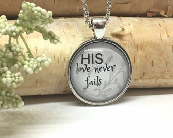 Christian Quote Necklace - Quote Necklace - Christian Jewelry - Christian gift - Inspirational Jewelry - Glass Cabochon