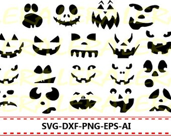 60 % OFF, Halloween Svg, Pumpkin Faces Svg, Halloween Clipart, Pumpkin Faces Silhouette svg, dxf, ai, eps, png, Halloween Vector Files