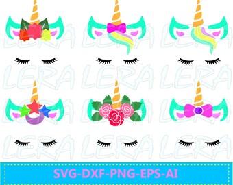 60 % OFF, Unicorn svg, Unicorn with eyelashes, Unicorn face  SVG, dxf, ai, eps, png, Gold horn unicorn Vector Files