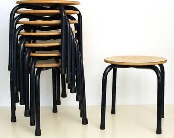 Vintage industrial school stools height 33 cm, 1970s