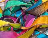 """1PC. MARDI GRAS 42"""" hand dyed wrist wrap bracelet silk ribbon//Yoga wrist wrap bracelet ribbons//Hand dyed Boho Silk wrist wrap ribbon"""