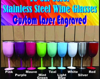 10 oz Color Stainless Steel Wine Glass - Custom Laser Engraved