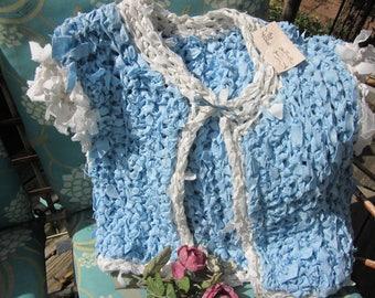 Pretty Hand Crochet Shabby Chic Rag Vest