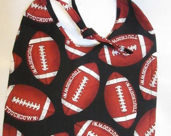 FOOTBALL!  Baby Bib! Touchdown! Reversible! 100% Cotton! Handmade!