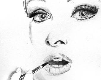 Audrey Hepburn Drawing, Sketch, Portrait, Artwork, pencil drawing, A4, Art, Artist