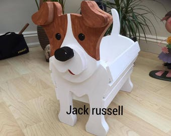 JACK RUSSELL,wooden,garden,planter,ornament,decoration,dog,personalised,name,tag,custom made,