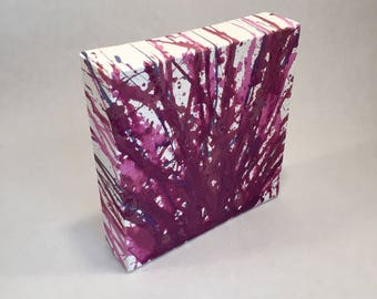 "Acrylic Purple Drip Painting; Jackson Pollock Inspired Abstract Art; Hand Painted Canvas Wall Decor; 6"" by 6"""