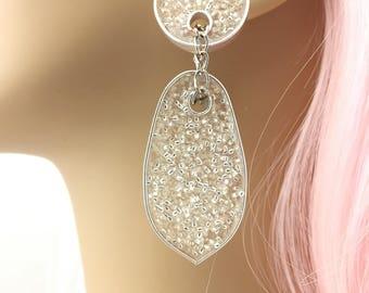 dangle earrings, drop earrings, wedding earrings, crystal earrings, transparent earrings, transparent, gifts, long dangle earrings, silver